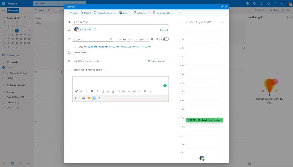 Teams Meetings Outlook Web App